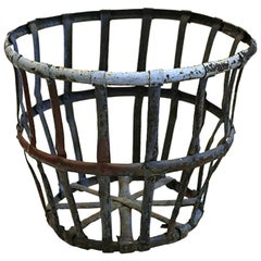 Late 19th-Early 20th Century Distressed Industrial Iron Basket circa 1880s-1920s