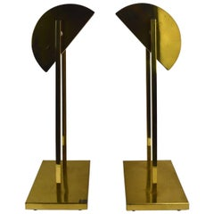 Pair of Brass Demilune Shade Lamps by Kovacs