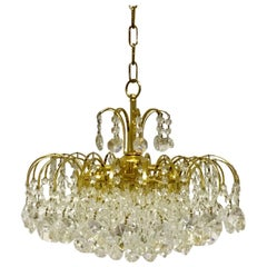 Gold-Plated and Swarovski Crystal Waterfall Chandelier, Germany, circa 1960s