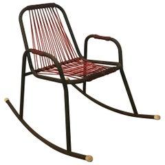 1960s Rocking Chair in Red Plastic Strings on Black Metal Frame