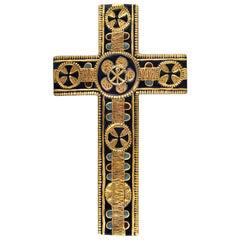 Aluminia or Royal Copenhagen Cross of Faience Designed by Kari Christensen