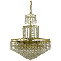 Gold Plated and Swarovski Crystal Chandelier, Germany, circa 1960s