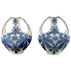 Pair of Faience Vases, Art Nouveau. Design by Alf Wallander for Rörstrand