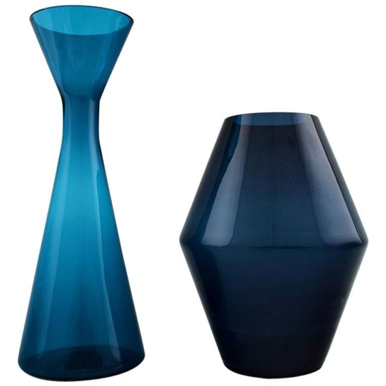 Swedish Art Glass, Two Handblown Vases in Blue, 1960s