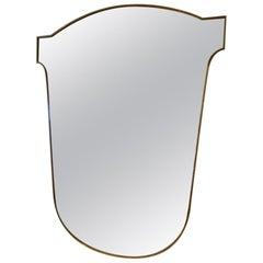 Midcentury Large Brass Bistro Mirror