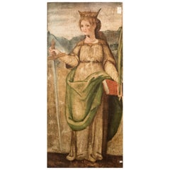 "16th Century Spanish School ""St Catalina of Alejandría"" Polychrome Oil on Panel"