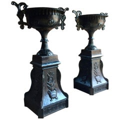 Antique French Cast Iron Garden Urns, Pair of Planters