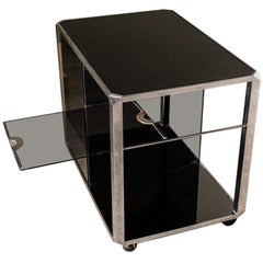 Willy Rizzo Glass and Chrome Bar Cart, 1970, Italy