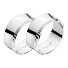Georg Jensen Pyramid  2-Piece Napkin Ring Stainless Steel Set by Harald Nielsen