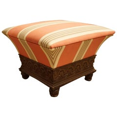 Carved Oak and Upholstered Ottoman