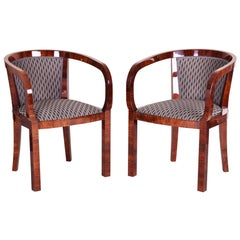Restored Pair of Art Deco Armchairs, New Upholstery and Fabric, High Gloss