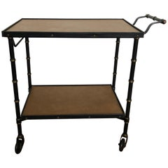 Jacques Adnet 1950s Black Bar Cart