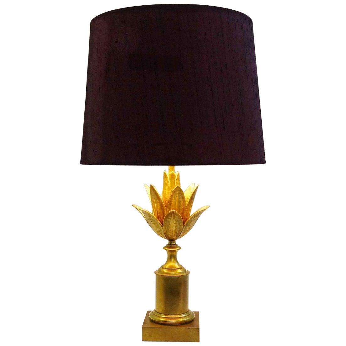 "Maison Charles Brass Table Lamp ""Lotus"", France, circa 1960"