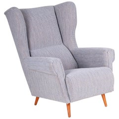 Completely Restored Czechoslovakian Midcentury Armchair, Wingchair, 1950-1960