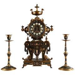 Fine Neo-Greek Clock Set by H. Houdebine