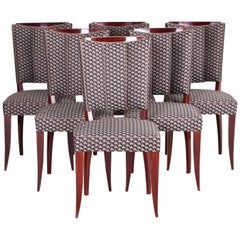 Restored French Art Deco Chairs, Six Pieces, Designed by Jules Leleu, 1920-1929