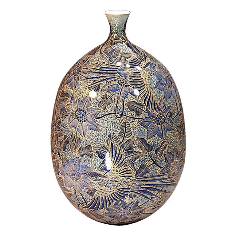 Japanese Imari Gilded Hand-Painted Blue Porcelain Vase by Master Artist