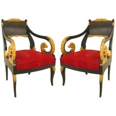 Pair of Russian Neoclassic Parcel-Gilt Armchairs
