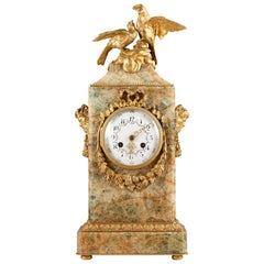 """Rare Fluorspar """"Doves"""" Clock Attributed to Susse Frères"""