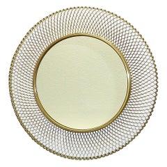 Round Golden Midcentury Wall Mirror Patinated Brass Glass Vereinigte Werkstätten