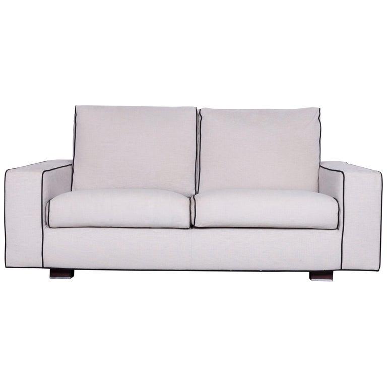 Minotti Designer Fabric Sofa Grey Two-Seat Couch