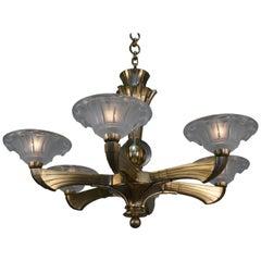 French Art Deco Bronze and Glass Chandeloer