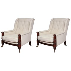 Pair of 19th Century Mahogany Mounted Library Armchairs