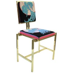 Simple Chair with Emilio Pucci Fabric and Brass, Made in Italy