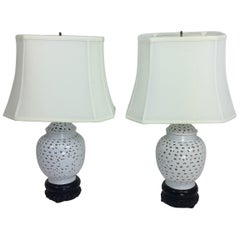 Blanc de Chine Pierced Table Lamps