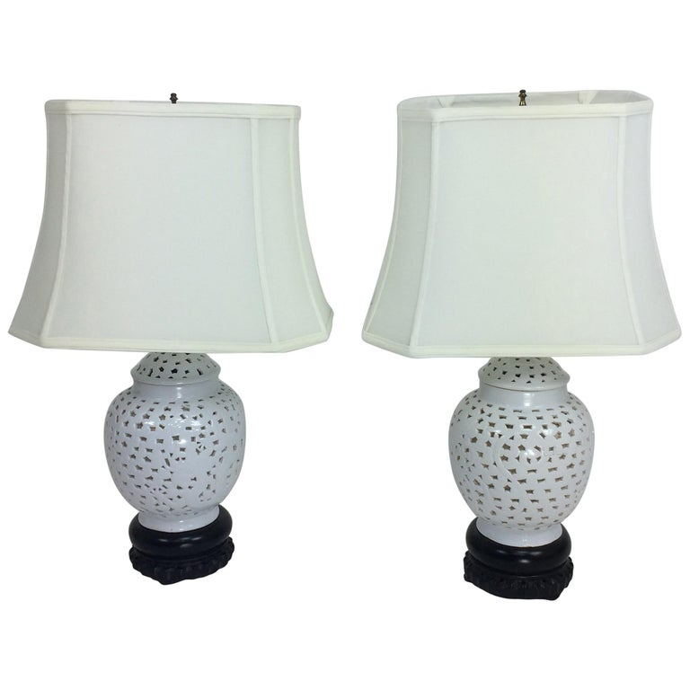Blanc de Chine Pierced Table Lamps