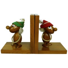 Pair of Italian Bookends with Teak Figurines from Ciola, 1950s
