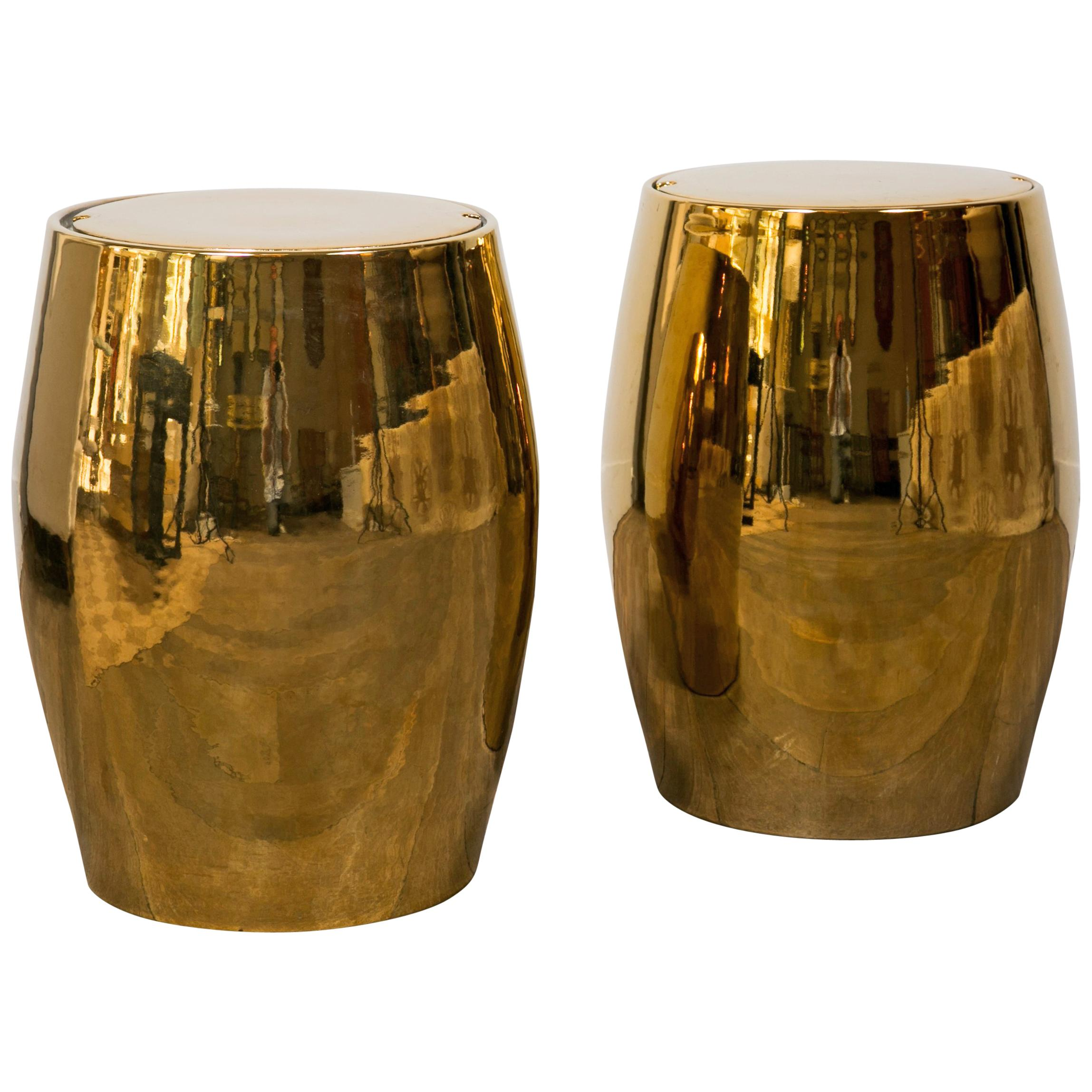 Pair Of Barrel Shaped Stools / End Tables For Sale