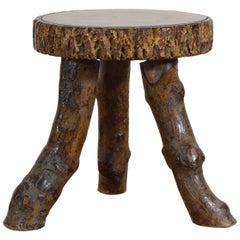 Continental Rustic Side Table, Top Cross Section of Timber, 20th Century