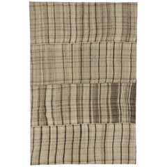 Vintage Turkish Kilim Rug with Stripes and Modern Style, Neutral Colors