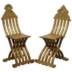 Rare Pair of 19th Century Anglo Syrian Giltwood Scribe Chairs Gold Leaf Painted