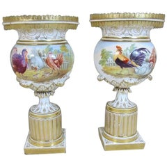 Pair of English 'Possibly Minton' Porcelain Hand-Painted Vases