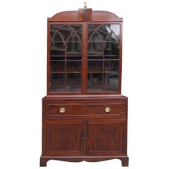 English Regency Mahogany Fall Front Inlaid Secretary with Bookcase, Circa 1810