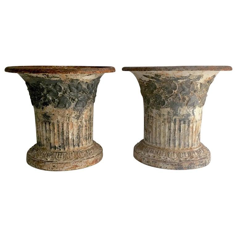 Pair 19th Century Cast Iron Urns Vases