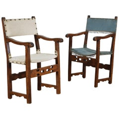 Pair of Spanish Baroque Walnut Open Armchairs with Pierced Stretchers
