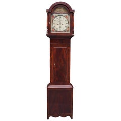 American Federal Mahogany Inlaid and Painted Tall Case Clock, Circa 1815