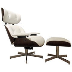 Midcentury Danish Modern Selig Eames Lounge Chair and Ottoman