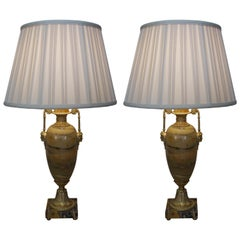 Pair of 19th Century Marble and Bronze Table Lamps