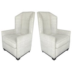 High Backed Club Chairs by Raul Carrasco, Pair