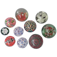 Ten Paperweight Millefiori Collection in Italian Murano Glass Midcentury