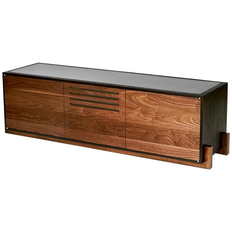 Cave Credenza Sideboard by Cauv Design Burnt Oak and Walnut Blackened Steel For Sale