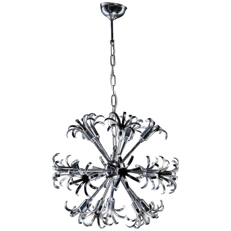 1970s Italian Chrome Sputnik Chandelier