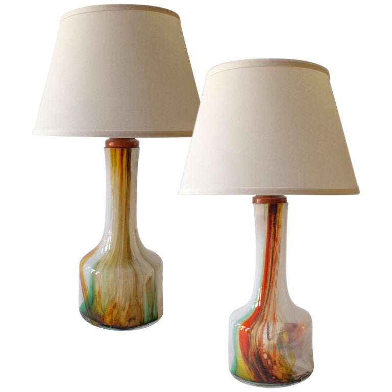 Holmegaard, Pair of Danish Polychromatic Case Glass and Teak Table Lamps