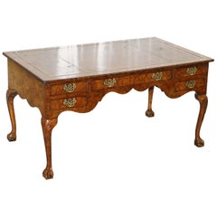 Harrods London Burr Walnut Brown Leather Claw and Ball Chippendale Partner Desk