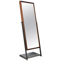 Lean Full Standing Mirror by CAUV Design Steel Concrete Black Walnut