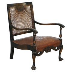Spanish Mahogany and Brown Leather Open Library Readying Armchair, circa 1910